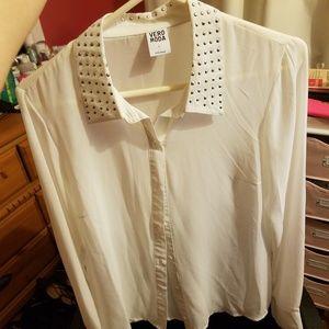 Vero Moda white button up blouse, silver sequins